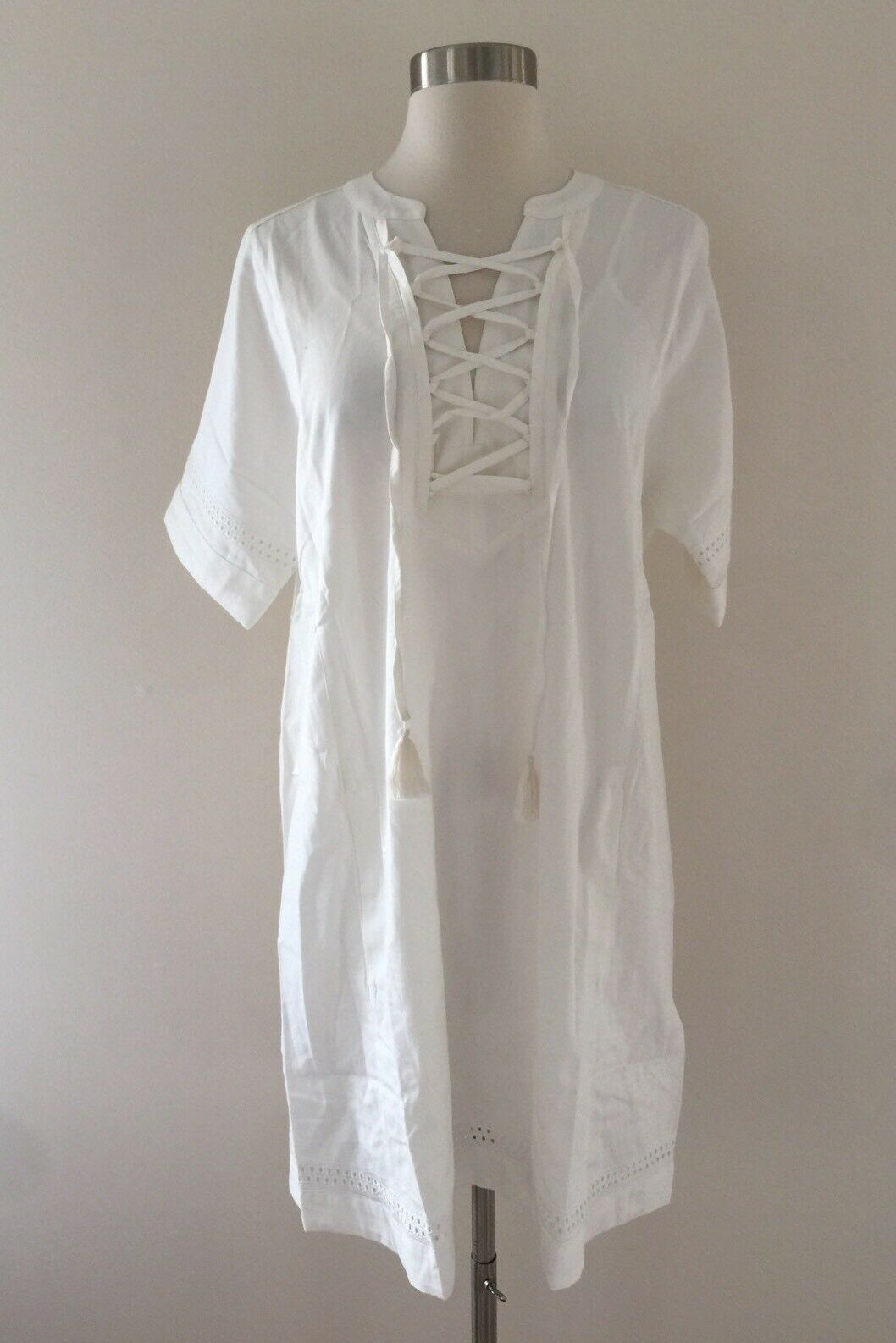 New Madewell X Daryl K Beverly Lace-Up Dress  E7675 Size S in WHITE