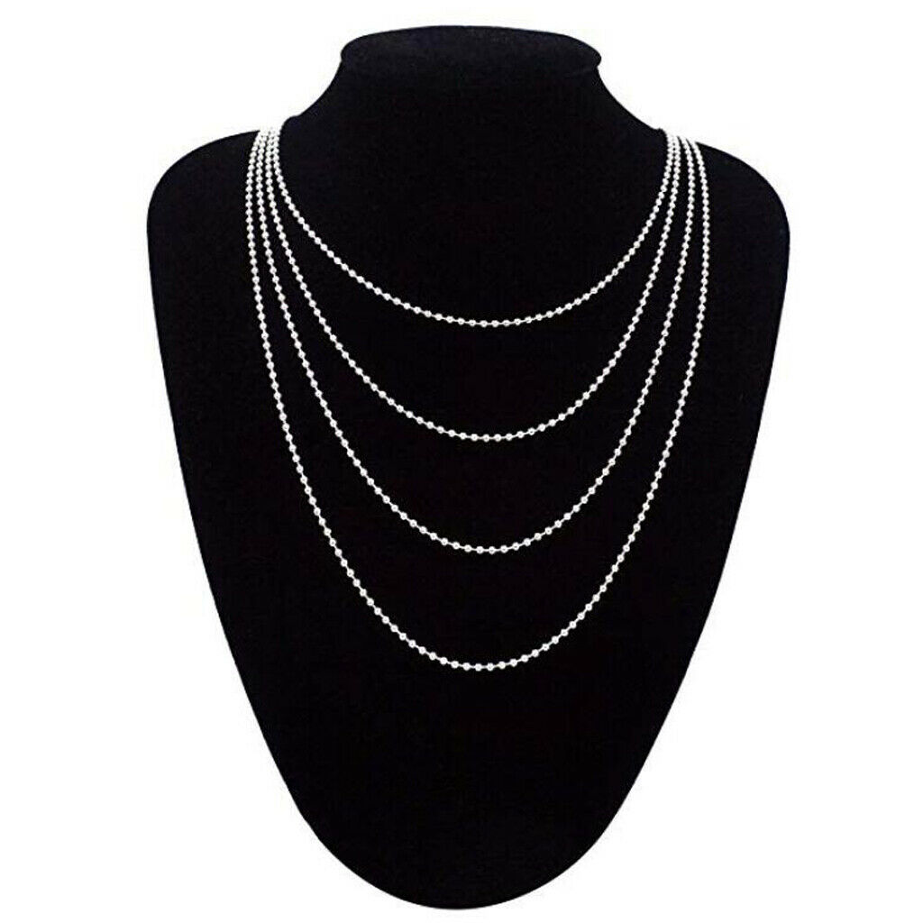 10-pack silver steel pearl necklace 3.9 inches, 5.9 inches, 11.8 inches, 19.7