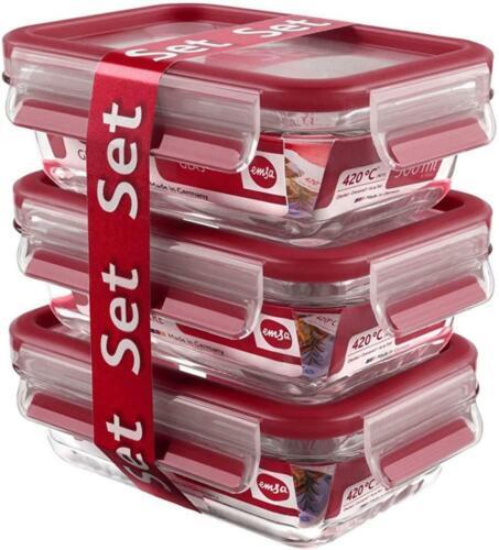 EMSA Frischhaltedose Clip /& Close Glas Set 3x0,5 L Rot Vorratsdose Aufbewahrung