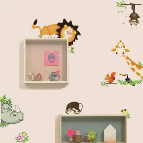 Wall Stickers Jungle Animal Kids Baby Nursery Home Decor Mural Bedroom Decal