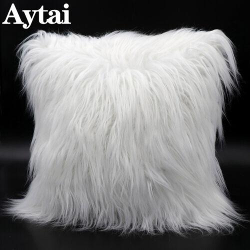 Fluffy Faux Fur Pillow Case Soft Plush Cushion Cover Throw Sofa Bed Home Decor