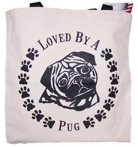 Loved-By-A-Pug-Tote-Bag-New-MADE-IN-USA