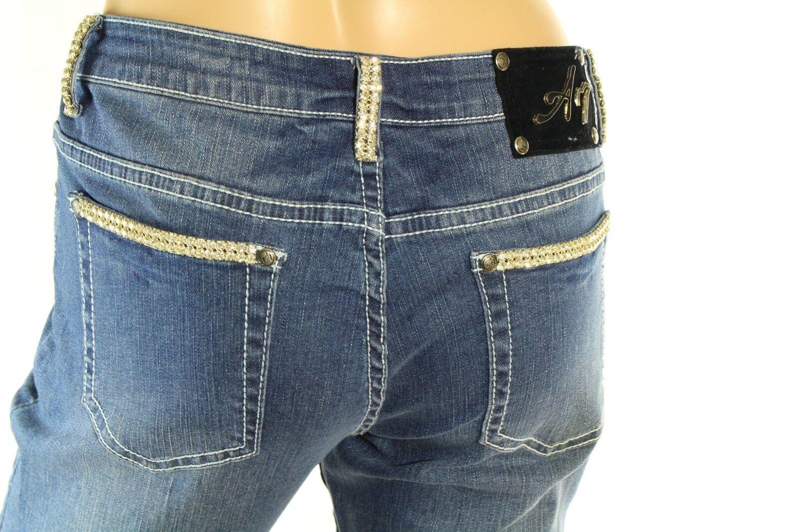 A7 Women's Denim Embellished Distressed Skinny Stretch Swarovski Crystal Jeans