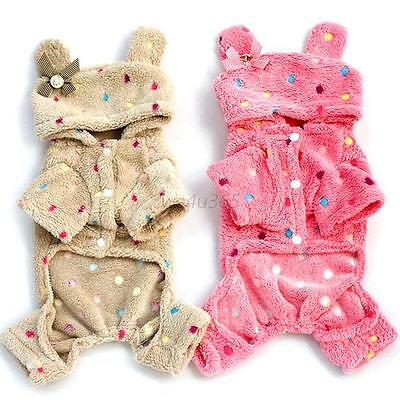 Cute Pet Dog Soft Pajamas Coat Polka Dot Dog Warm Hoodie Clothes Jacket S-XXL