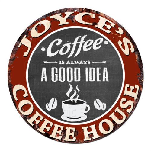 CPCH-0049 JOYCE/'S COFFEE HOUSE Chic Tin Sign Decor Gift Ideas