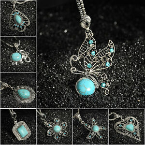 Charm-Bib-Retro-Tibetan-Silver-Jewelry-Crystal-Turquoise-Pendant-Chain-Necklace
