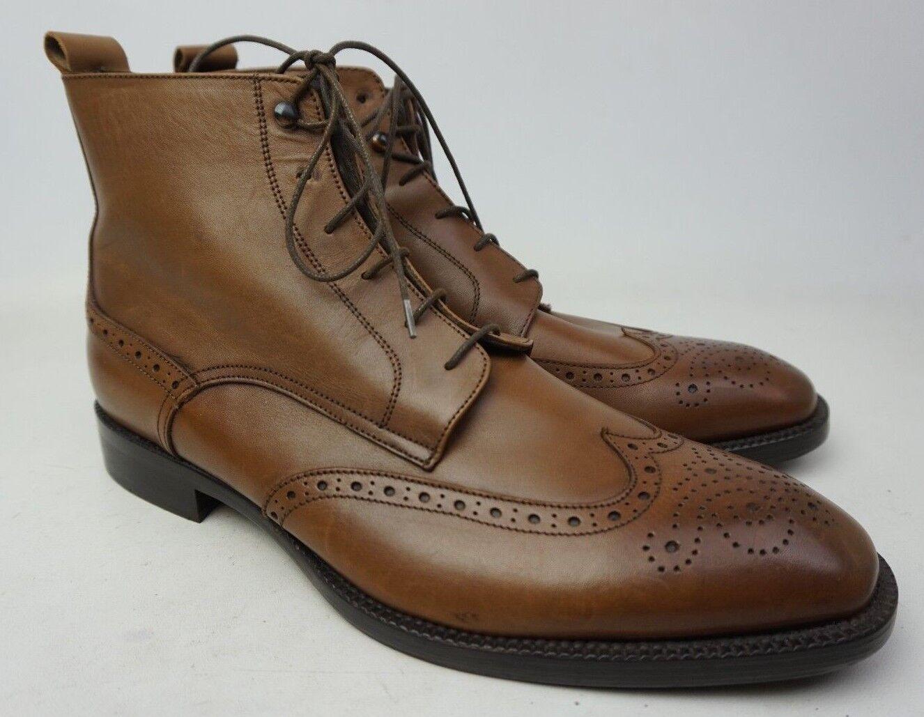 To Stiefel New York Brentwood Wingtip Leather Vitello Cuoio braun Stiefel Größe 11