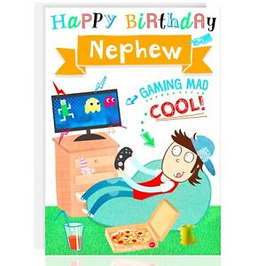 Image Is Loading NEPHEW Birthday Greetings Card XBOX PS4 Male Gaming