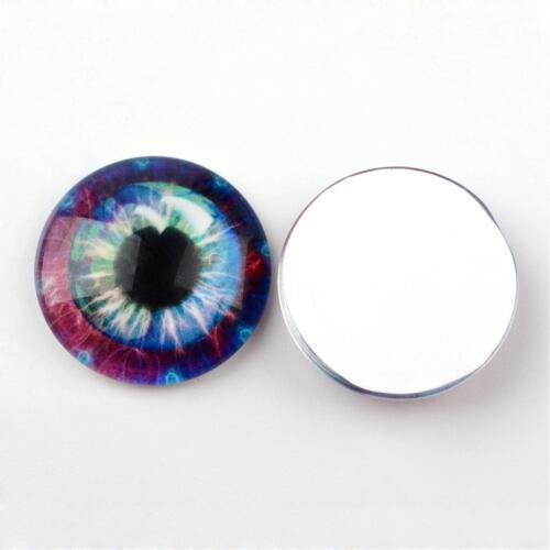 Violet Fantasy Eyes 20 x 10mm Diametre Round Glass Cabochons