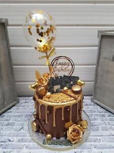 BALLOON-CAKE-TOPPER-GOLD-CONFETTI-WEDDING-PARTY-BIRTHDAY-INSERT-STRAWS-DESSERTS