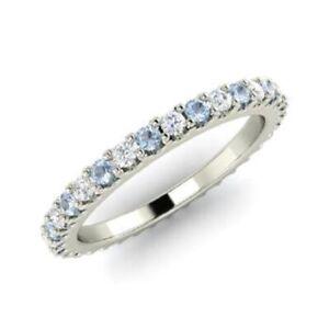0.72 Ct Round Diamond Aquamarine Engagement Eternity Band 14K White Gold Size 4