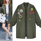 NEW Women Warm Long Bomber Coat Jacket Slim Winter Parka Autumn Baseball Outwear