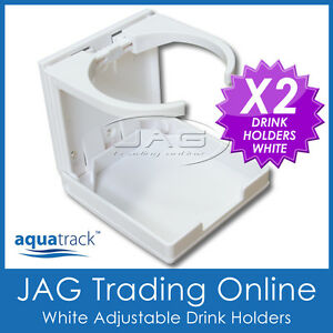 2-x-ADJUSTABLE-FOLDING-WHITE-DRINK-HOLDERS-Boat-Marine-Caravan-Car-4x4-RV-Cup-W