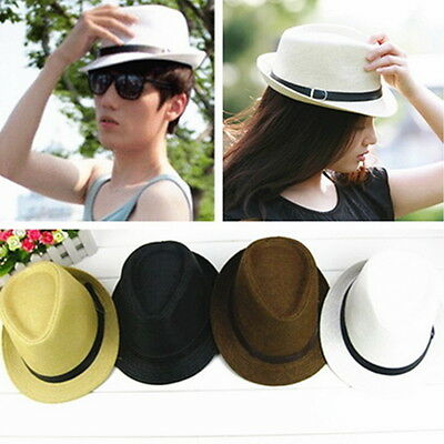 Women Mens Summer Fedora Trilby Panama Straw Hat Beach Sunhat Gangster Jazz KK
