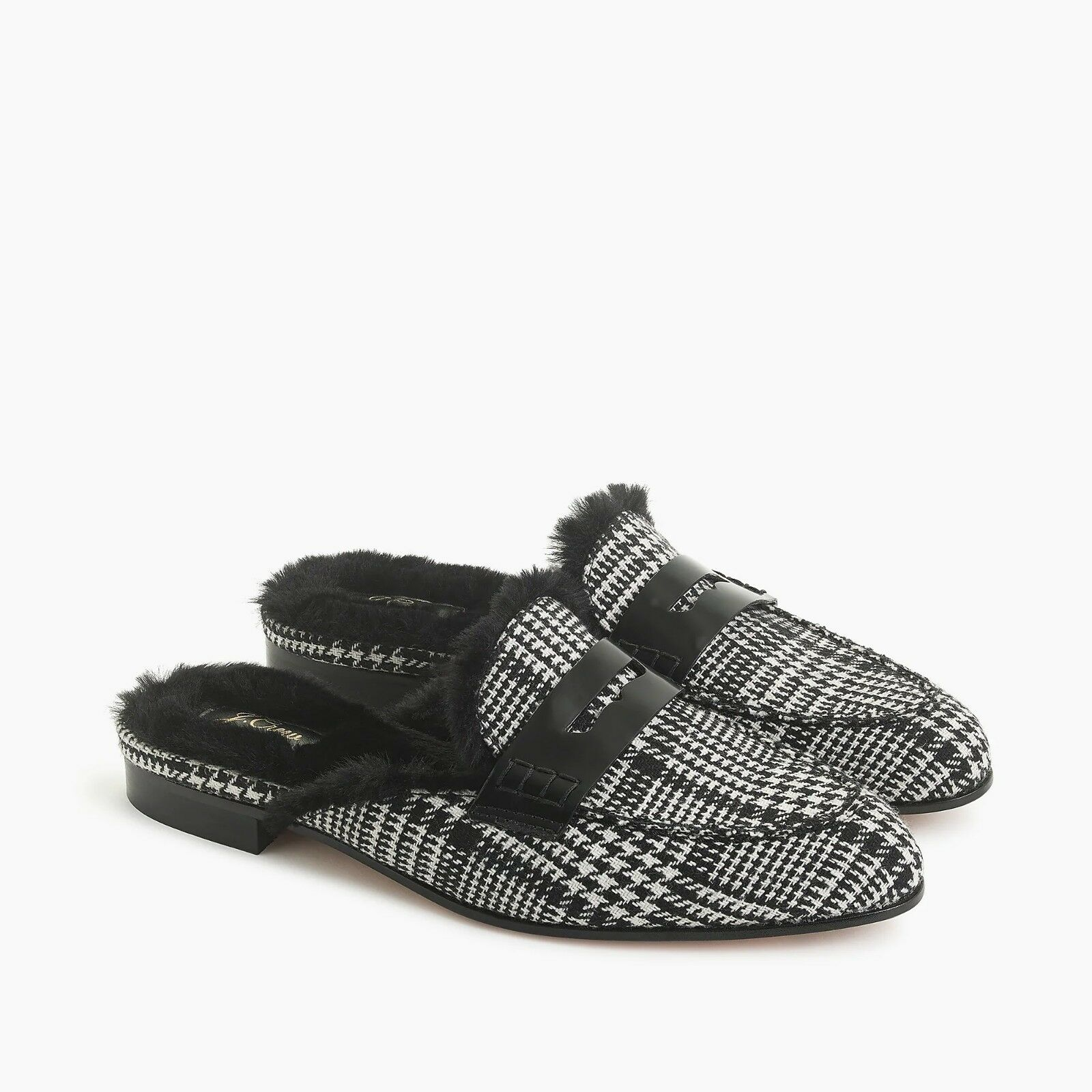 New J. Crew Faux Fur-Lined Academy Penny Loafers Mule in Glen Plaid - Size 9
