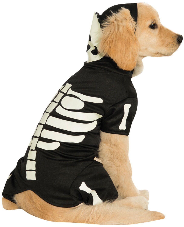 Haustier Hund Katze leuchtend Skelett Halloween Kostüm Outfit Verkleidung XS-XL  | Billig
