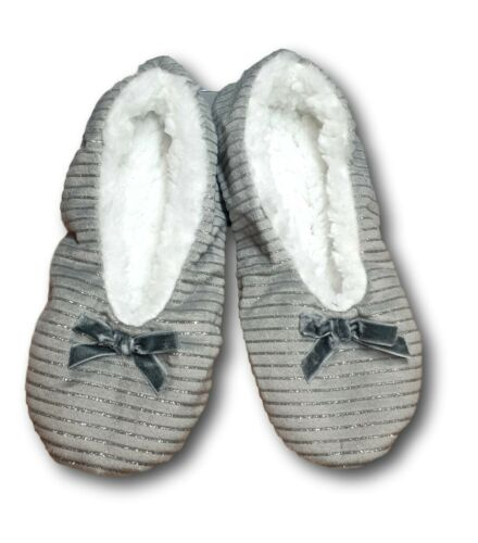 Girls Women Soft Light Warm Winter Glitter Christmas Slippers Red Grey UK1-7