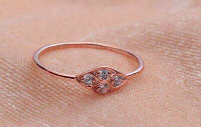 Glorious 14k Solid Rose Gold Ring,natural Diamond Ring Wedding Ring,unique Ring Fine Rings Jewelry & Watches