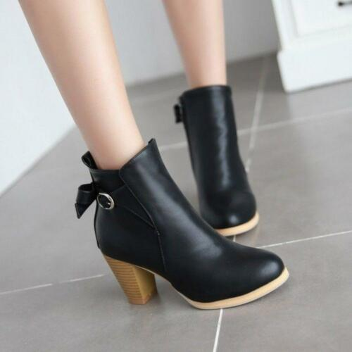 Womens High Heels Ankle Boots Zip Buckle Casual Round Toe Shoes plus size Bootie