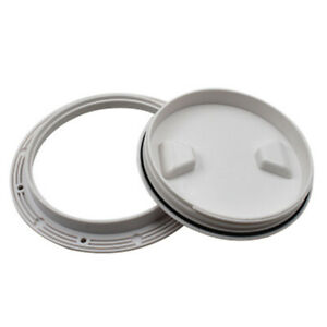 """8/"""" inch ABS White Round Boat Marine Out Deck Plate Inspection Access Hatch Cover"""