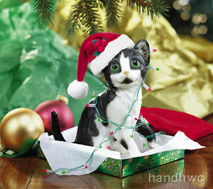 Breyer-700303-Tom-Foolery-Kitten-amp-Lights-Cat-Christmas-Decoration-Ornament-NIB