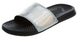 puma popcat chrome slides black silver sandals flip flops mens sz