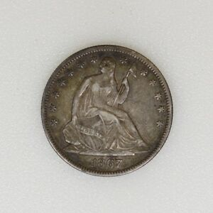 1867-P-W-Motto-XF-Seated-Liberty-Half-Dollar-Great-Color-amp-Strike-I-15689-F