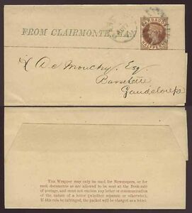 BARBADOS QV STATIONERY NEWSPAPER WRAPPER to GUADELOUPE PRINTED CLAIRMONTE MAN