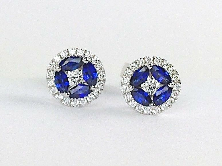 18K White gold blueee Sapphire and Round Diamond Earrings Halo Studs