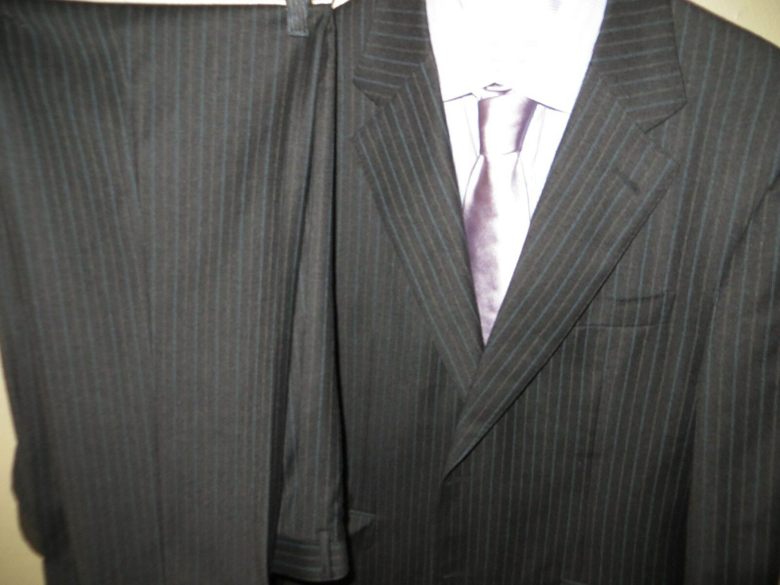 Canali Proposta Men's bluee Pinstriped 100% Wool Suit Blazer 40 R Pants 36 X 31