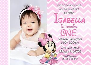 Image Is Loading Minnie Mouse First Birthday Baby Girl Invitation