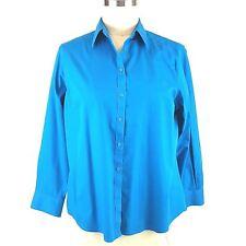 Jones New York Signature Woman Shirt Size 2X Non Iron Turquoise Cotton EUC
