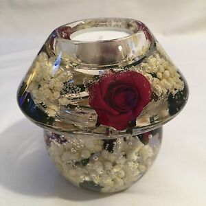 GLASS CANDLE HOLDER  WITH FLORAL DESIGN (Red/white) HAND MADE