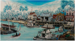 Large-Oil-on-Board-by-Vic-Collins-137cm-x-75cm-River-Traders