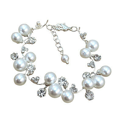 Bridal Simulated Pearl and Rhinestone Fashion Bracelet