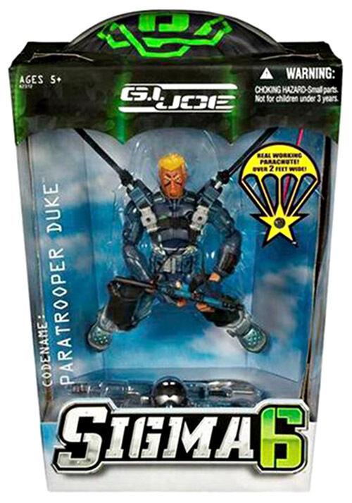 """GI Joe Sigma 6 """"Paratrooper Duke"""" with Working Parachute MIB Rare"""