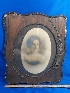 Antique-Large-Wood-Picture-Frame-Oval-Photo-Glass-Gesso-Primitive-Victorian-VTG