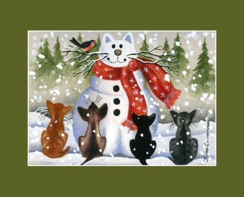 Christmas Cat ACEO Print Admiring Our Work by Irina Garmashova