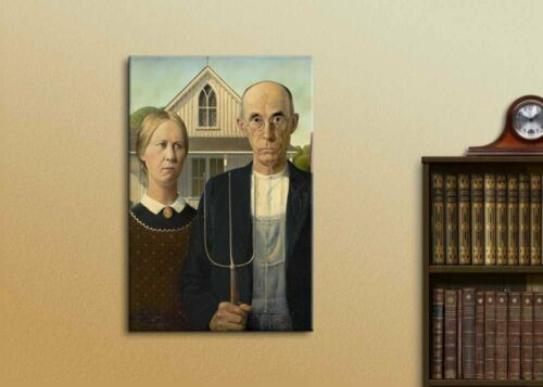"""16/"""" x 24/"""" American Gothic by Grant Wood Giclee Canvas Prints Wrapped Wall Art"""