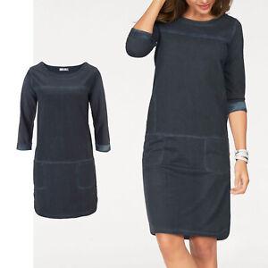 huebsches-Sweatkleid-Kleid-Gr-38-40-M-L-SHIRTKLEID-Blau-jeansblau