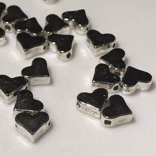20 Chapado en Plata Forma Corazón Espaciador Granos estilo plano lado roscar agujeros 7x6mm