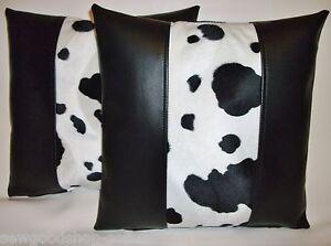 "2 White Faux Leather Velboa Fur Tiger Stripe Cushion Covers 16/"" 18/"" 20/"""