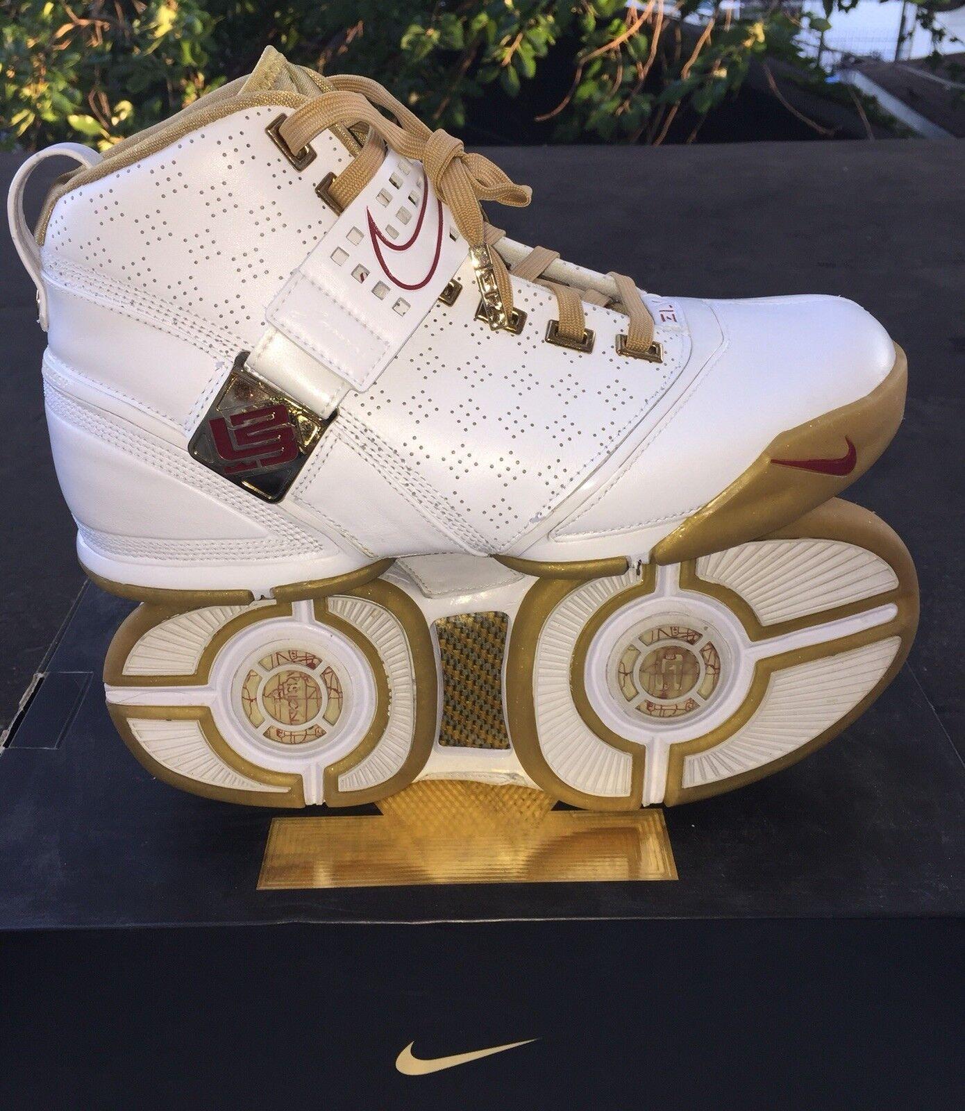 "c5ddb24bd9939 Nike LeBron V ""Akron Vision"" Vision"" Vision"" White Gold Basketball Men s"