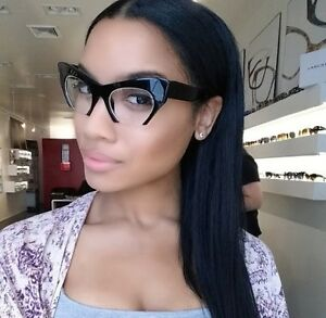 6fd2942f2b Fashion Cut Off Rasoir Sliced Cat Eye Glasses Clear Lenses Women Sunglasses