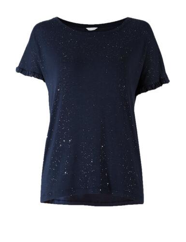 Ex Marks and Spencer Sparkle Short Sleeve Pyjama Top Size 8 14 12 P99.14