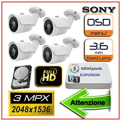 Kit Videosorveglianza Dvr 4 H264-3g + 4 Telecamere Sony 3000tvl + 4 Aliment.