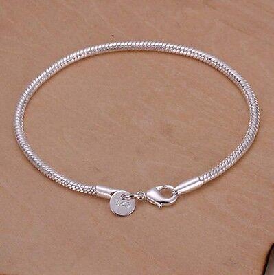 Beauty Women's Cute Sterling Silver Plated Snake Type Chain Bangle Bracelet