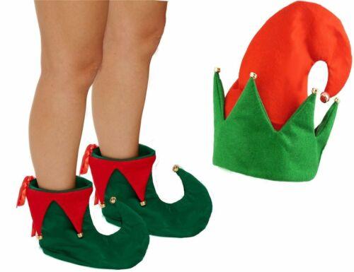 Adult CHRISTMAS ELF COSTUME ACCESSORY Secret Santa Shoes Bells Fancy Dress Party