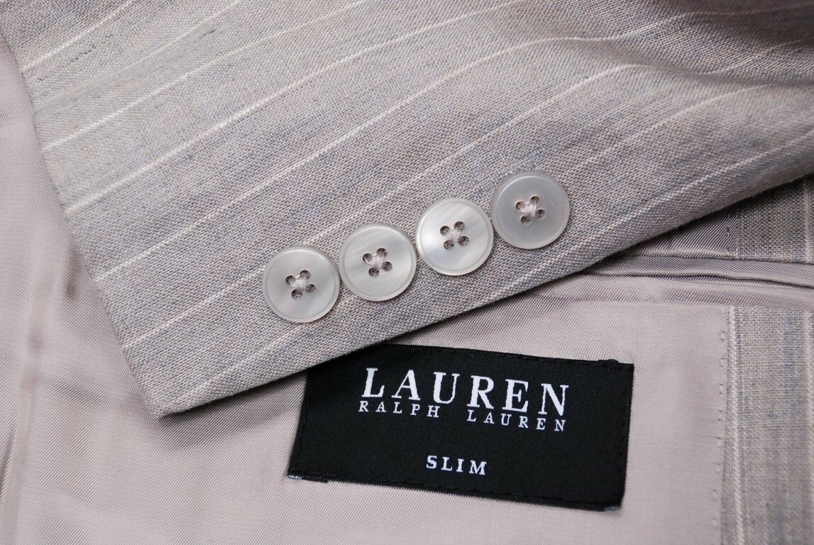 Perfect LAUREN RALPH LAUREN 3 piece 100% linen pinstripe slim fit suit 44L