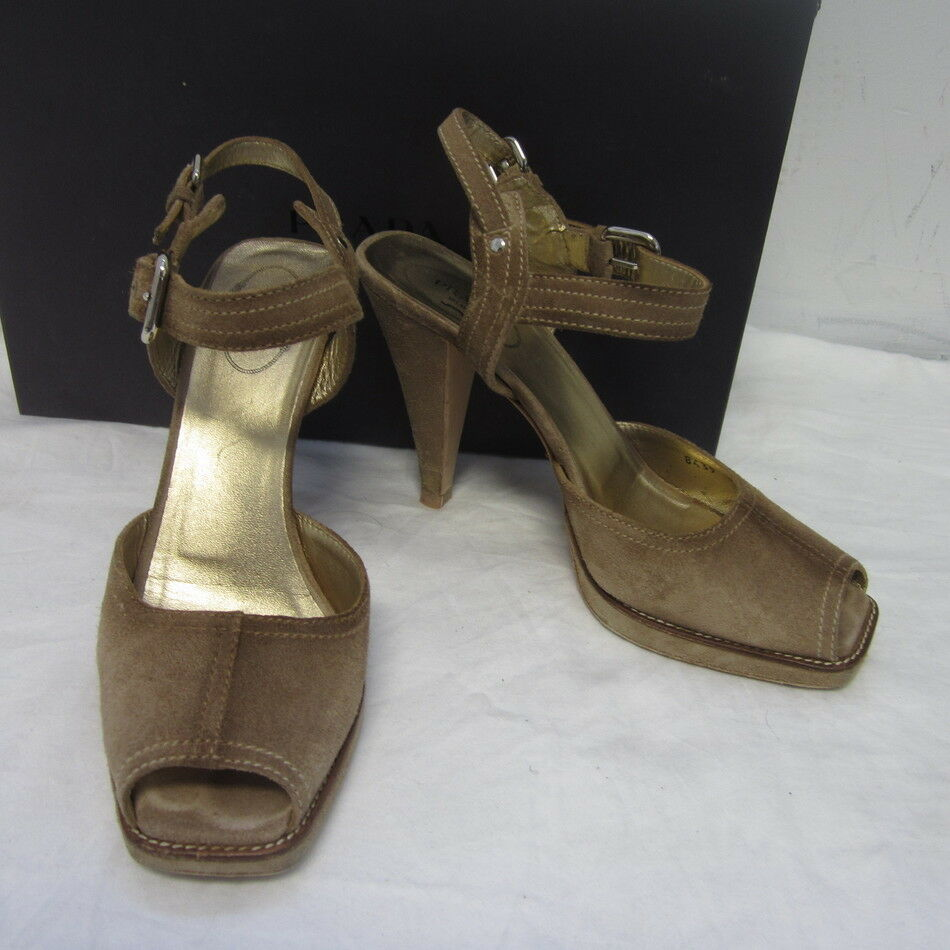 PRADA BROWN SUEDE OPEN TOE ANKLE STRAP SZ SANDALS SZ STRAP 38.5 8.5 520 72ff82